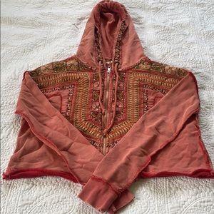 Free people cotton zip front hoodie
